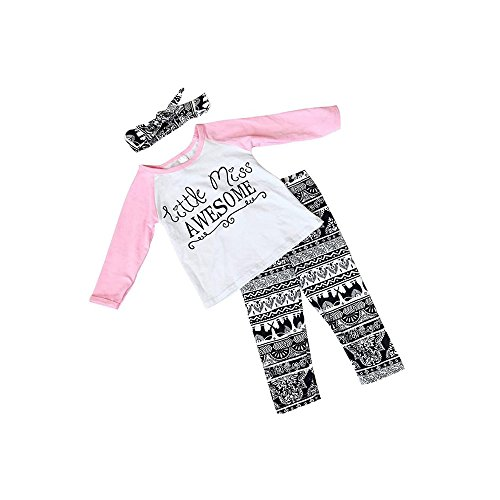 Baby Girl Outfits Set Letter Long Sleeve Tops T-shirt and Pants with Headband 18M-24Months