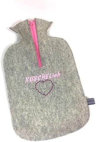 """Filzschnitt, kuschelige Wärmflasche""""KuschelIch"""" mit handgefertigtem Bezug aus 100% Schurwollfilz hellgrau"""