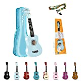 ADM Beginner Ukulele 21 Inch Soprano Kids Starter Pack Student Bundle Child Kit with Gig bag and Strap, Blue