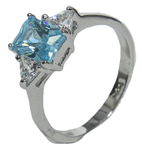 - Women's Rhodium Plated Dress Ring Emerald Cut Blue CZ 009 (6)