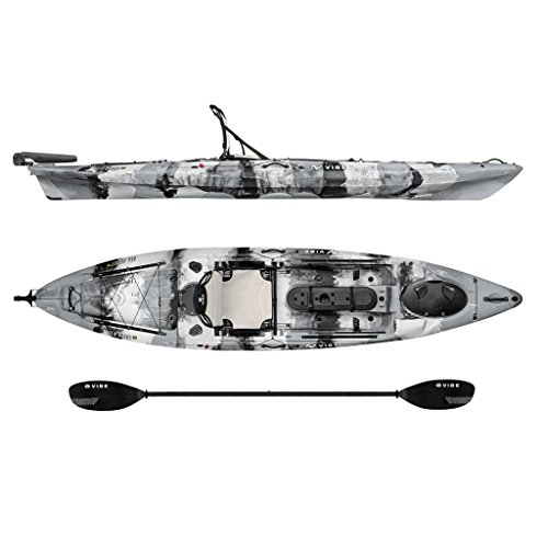 Vibe Kayaks Sea Ghost 130 13 foot Angler Sit On Top Fishing Kayak with Paddle and Dual Position Hero Seat and Rudder System Included
