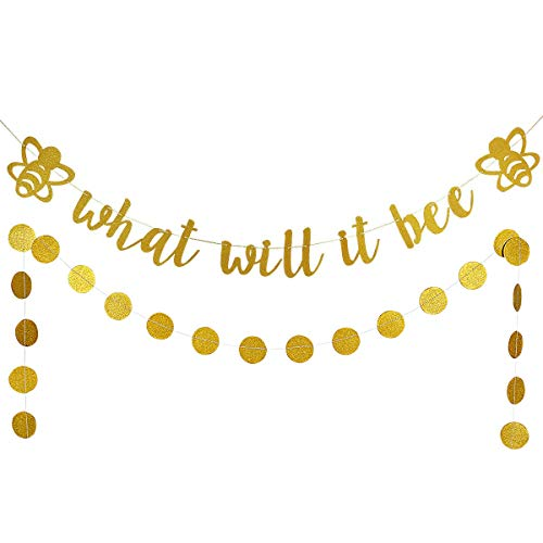 Gold Glittery What Will It Bee Banner and Gold Glittery Circle Dots Garland- Baby Shower Gender Reveal Party Decoration Supplies -