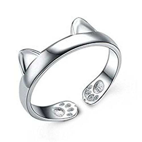 Hosaire Womens Cute Cat Ears Ring Adjustable Opening Silver Elegant Ring for Womens Jewelry
