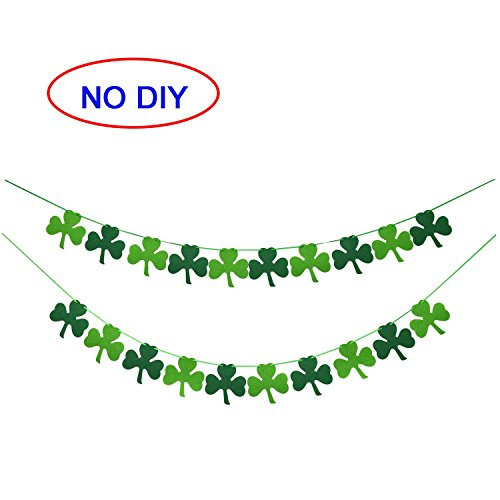 Felt Shamrock Clover Garland Banner - NO DIY - St. Patrick 's Day Banner Decor - St. Patrick 's Day Garland Decorations - Irish Party Supplies - Green and Light Green Color