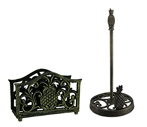 (Black Gold Tropical Pineapple Cast Iron Napkin and Paper Towel Holder)