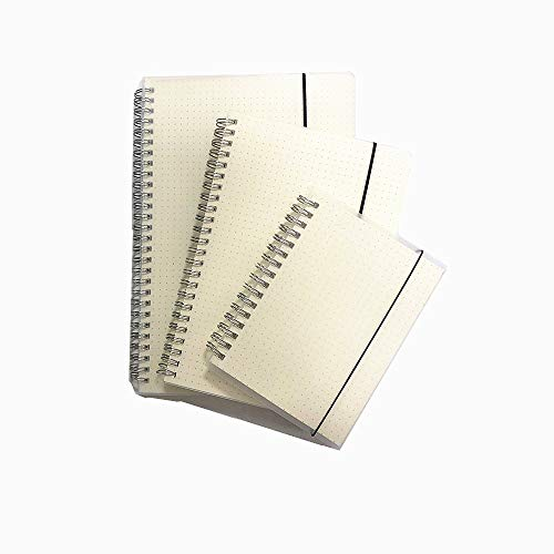 3-Pack A5 A6 B5 Simple Dotted Spiral Notebook,Spiral Journal,Composition Notebooks,100gsm Thick Dotted Paper, Wirebound Frosted Clear Cover Notebook,Elastic Band Closure (Dot Grid)