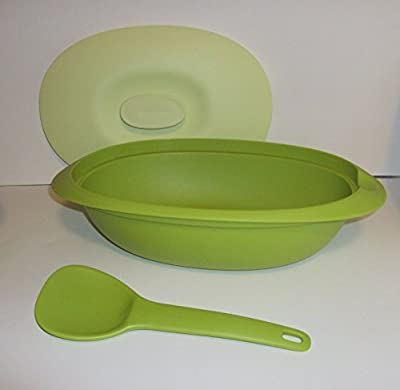 Tupperware Legacy Blossom Microwave Serving Casserole Dish and Soup Tureen Set Green