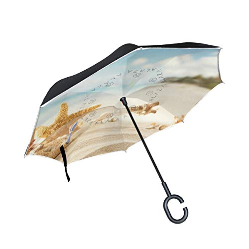 - Inverted Umbrella Seashells Beach Starfish Sun Reverse Umbrella UV Protection Windproof for Car Rain Sun Outdoor Black