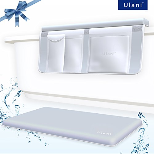 The Original Bath Kneeler Pad & Cushioned Elbow Rest by Ulani, Extra Thick Bath Kneeling Mat with Stronger Non-Slip Suction Cups, Smart Toy Organizer, Bathtub Comfort, ULTRA Safe Baby baths