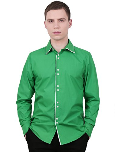 Allegra K Men Cool Tiered Single Breasted Long-sleeved Shirt S Bright Green - Tiered Single