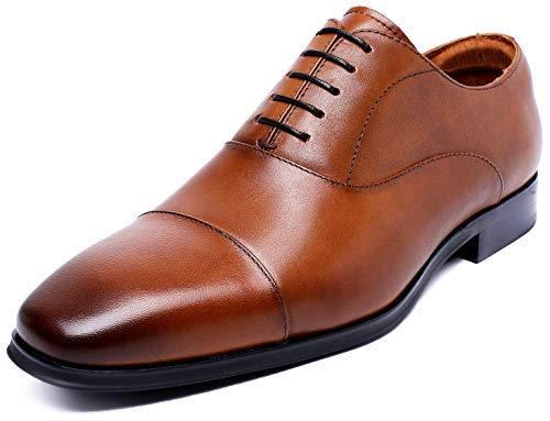DESAI Men's Formal Leather Cap Toe Dress Shoes Lace up Oxfords for Men (7.5 M US, Brown)