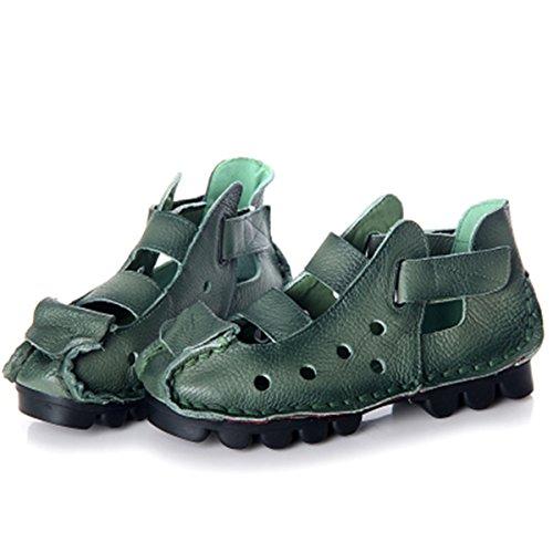 Socofy Da Verde Confortevole Scarpe Balletto Flat Donna Loafers Primavera Testa Rotonda Casual Barca Mocassini Mocassino Pelle Di Pantofole Sandali Estate In rwXnrqRS