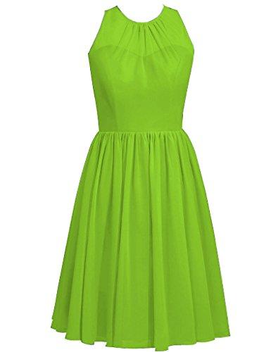 Collo Matrimonio il Abiti Damigella dresse Breve limone Chiffon da HUINI cappuccio ballo Partito Cerimonia Verde del XqHdXRw