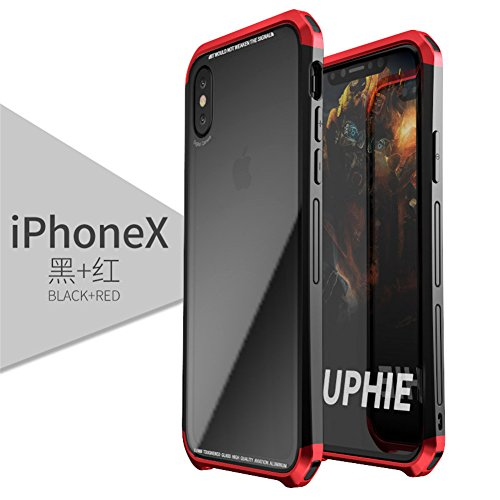 Iphone X Case, LWGON Luxury Aluminum metal Frame + Transparent Tempered glass PC back triple cover case for Iphone X (3Glass red) Back Metal Frame