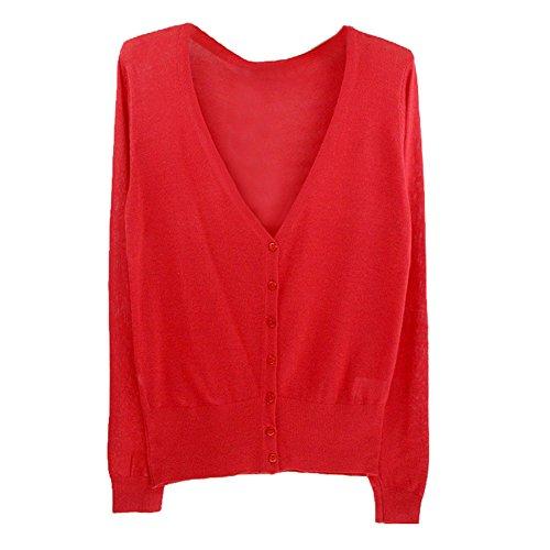 SODIAL 女性のカジュアルな薄いセーター ファッション的なVネックのフル袖 女性のニットカーディガン コート 赤