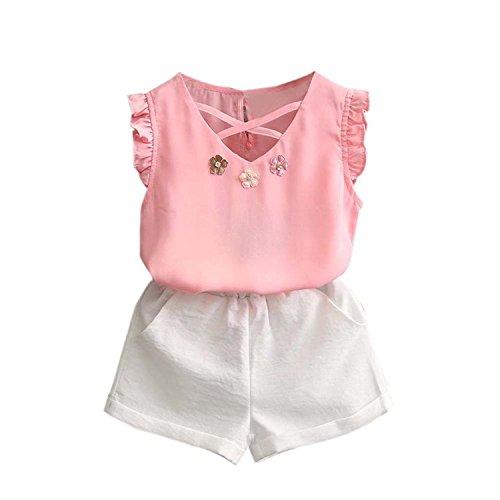 Vovotrade 2PCS Toddler Baby Kids Girl Outfit Clothes Chiffon Vest T-Shirt+Shorts Pants Set (4T, Pink)