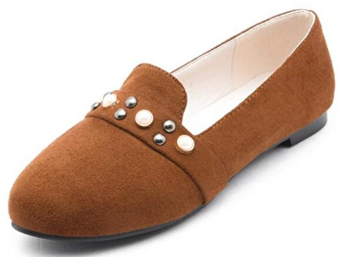 IDIFU Womens Sweet Studded Round Toe Low Top Slip On Faux Suede Flats Shoes Brown t9qCKTRJ