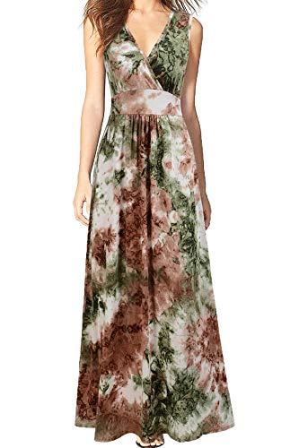 WOOSEA Women Sleeveless Deep V Neck Loose Plain Long Maxi Casual Dress