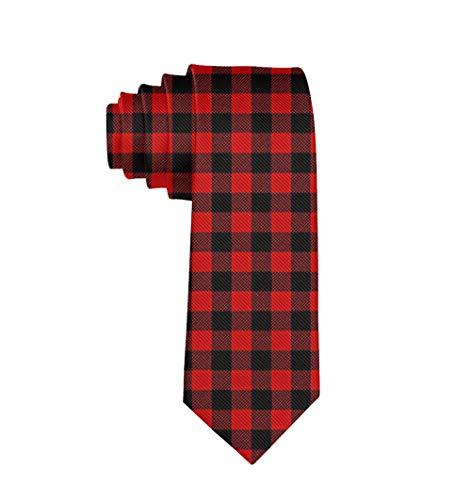 Jinkela Unisex Red Buffalo Plaid Silk Necktie Men Skinny Tie