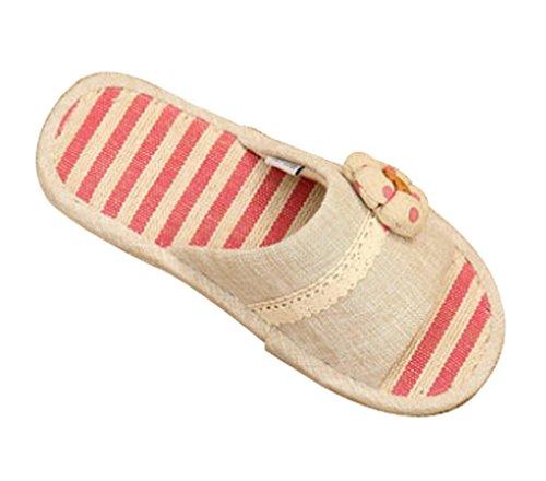 Zapatillas De Mujer Cattior Mujeres Flax Cute Slippers Rojo