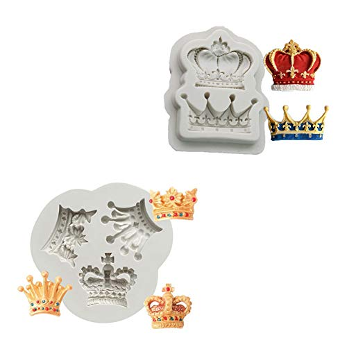 BUSOHA Crown Cake Fondant Molds - King and Queen Tiara Silicone Mold for Sugarcraft Cupcake Topper Chocolate Candy Pastry Jewelry Clay Cake Decorating - Set of 2 (Mold Crown Silicone)