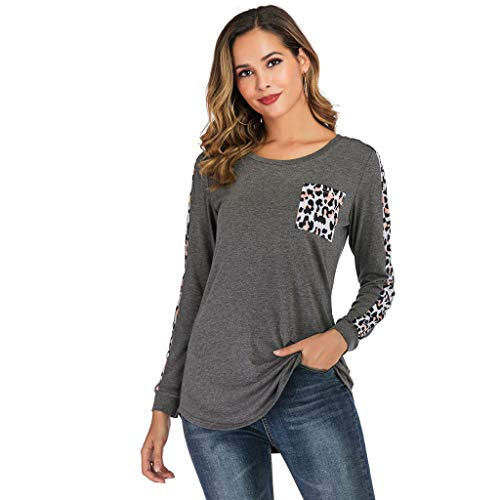 Lovor Women's Tops Casual Long Sleeve Scoop Neck Leopard Print Patchwock Basic Tees Shirts Blouse(Gray,XL