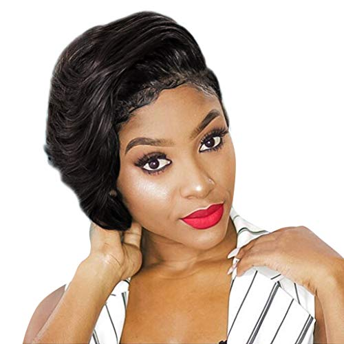 Inkach Short Bob Wigs for Black Women Afro Curly Full Hair Wig Synthetic Fiber Costume Party Wig (Black) for $<!--$6.68-->