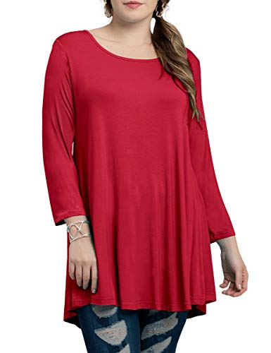 BELAROI Women Plus Size 3/4 Sleeve Comfy Tunic Tops Loose T-Shirt(2X,Wine Red)