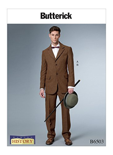 [Butterick Patterns B6503 Q Men's Single-Breasted Lined Coat with Back Vent and Cuffed Pants Costume by Making History, Size MQQ (46-52)] (Butterick Mens Costume Patterns)