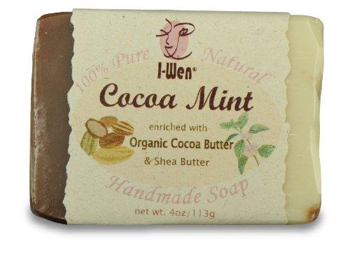 I-Wen Cocoa Mint Handmade Soap - 100% Natural & Organic, Organic Cocoa Butter and Powder, Pepper Mint Essential Oil, Vitamin E, Made in USA - 4.5 oz (128g) -  I-Wen Naturals, HMS03