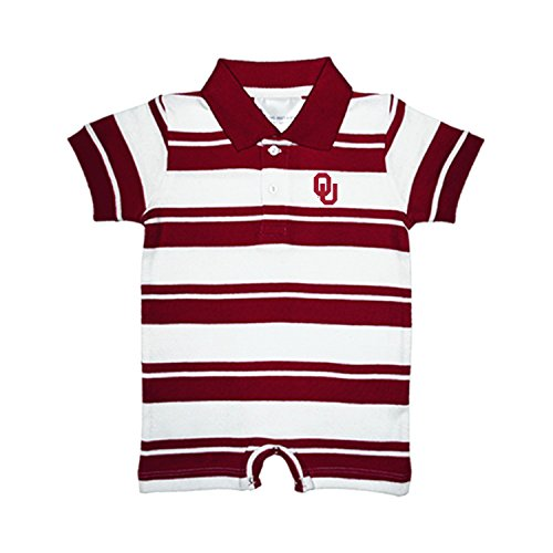 Rugby Oklahoma Sooners - Oklahoma Sooners NCAA College Infant Baby Rugby Striped Romper (12 Months)