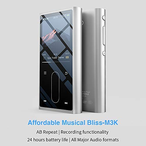 FiiO M3K Mini HiFi Metal Shell MP3 Player with Digital Voice Recorder,24  Hours Playback and Expandable Up to 512GB with Independent Lock & Volume