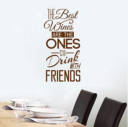 Dalxsh Removable Wall Decal The Best Wines We Drink with Friends Quotes Vinyl Wall Sticker Kitchen Decor Drink Wine Wallpaper 29x57cm]()