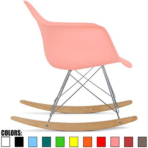 2xhome Coral Pink Mid Century Modern Molded Shell Designer Plastic Rocking Chair Chairs Armchair Arm Chair Patio Lounge Garden Nursery Living Room Rocker Replica Decor Furniture DSW Chrome