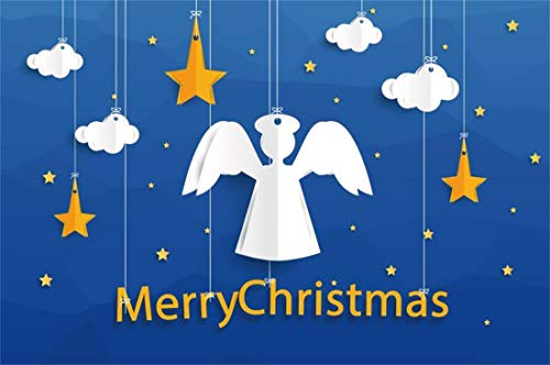 Yeele Christmas Photography Background 7x5ft Hanging Ornament White Angel Yellow Star White Clouds Model Merry Christmas Xmas Decoration Photo Backdrops Pictures Photoshoot