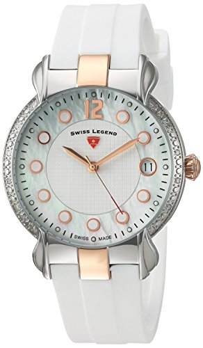 Swiss Legend Women's 'Layla' Quartz Stainless Steel and Silicone Casual Watch, Color:White (Model: 16591SM-SR-02-WHT)