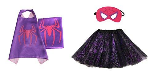 Rush Dance Kids Children's Deluxe Comics Super Hero CAPE & MASK & TUTU Costume (Spidergirl (Purple Web (Kids Deluxe Iron Spider Costume)