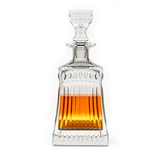 (Striped Leaf Patterned Band Cut Premium Whiskey Crystal Glass Decanter & Glass Stopper, Cognac, Bourbon Bottle by Fine Occasion)