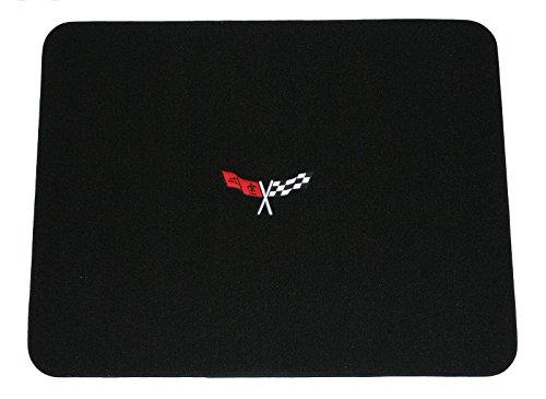 1968-1982 C3 Corvette Classic Loop Black Rear Deck Mat with Crossed Flags Logo in Red & - Deck Corvette Rear