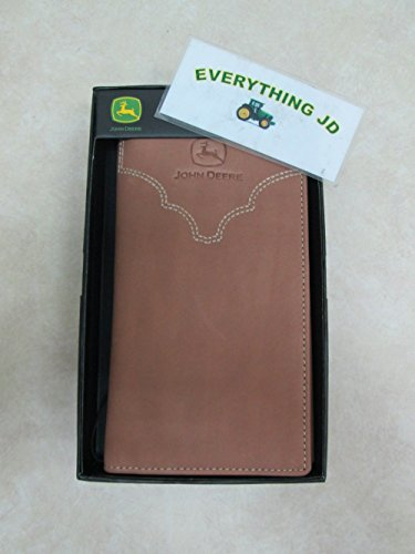 John Deere Men's Leather Checkbook Cover, Brown, One Size
