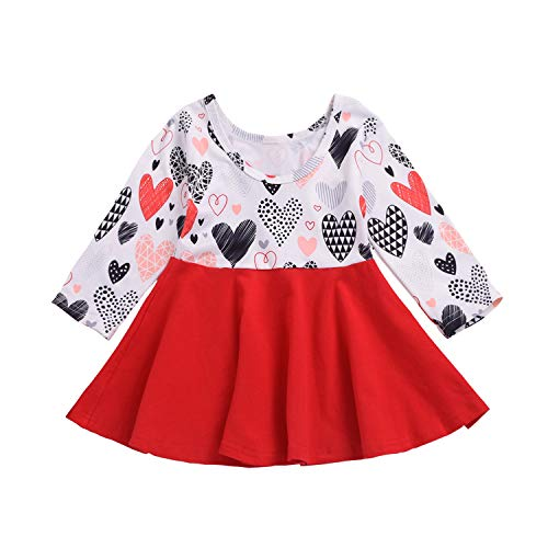 Valentine's Day Toddler Baby Girls Dress Outfits Heart Print Princess Party Tutu Skirt Ruffle Dresses Clothes (Red, 2-3 Years)