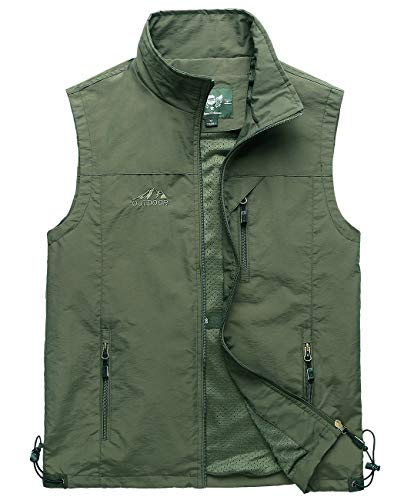 Hixiaohe Men's Lightweight Outdoor Work Fishing Photo Travel Hiking Vest Gilet (Army Green, L)