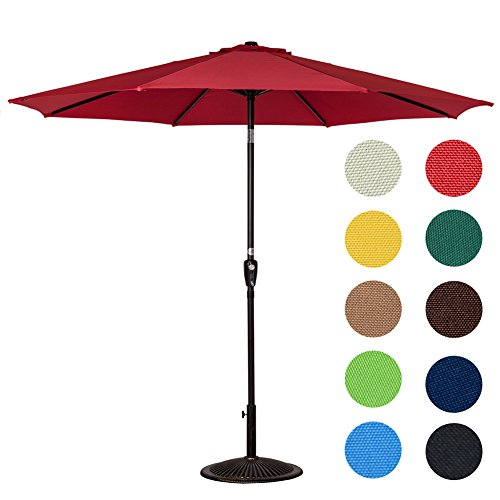 Cheap Sundale Outdoor 10 Feet Aluminum Market Umbrella Table Umbrella with Crank and Push Button Tilt for Patio, Garden, Deck, Backyard, Pool, 8 Steel Ribs (Red)
