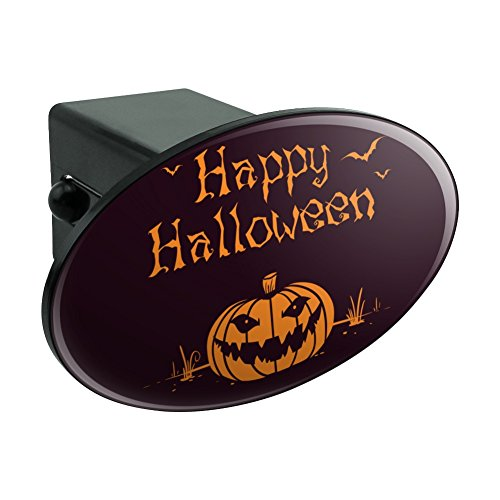 Graphics and More Happy Halloween Holiday Pumpkin Jack-o-Lantern Bats Oval Tow Hitch Cover Trailer Plug Insert -