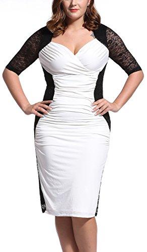 Women's Lace V-Neck 3/4 Sleeve Plus Size Evening Party Midi Dress White/Black 1X