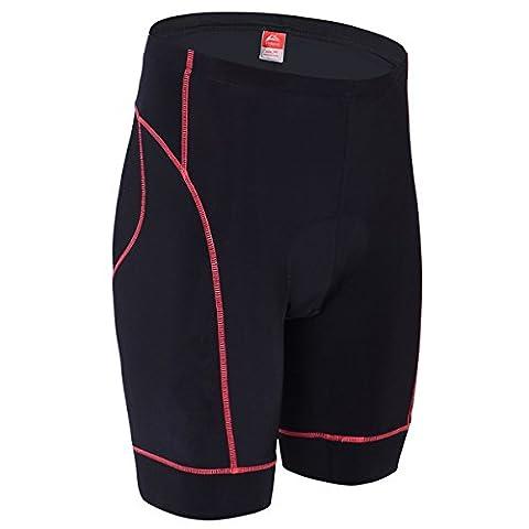 ALLY Cycling shorts Men's 3D Padded Biking Bicycle Bike Tights Pants Half Pants- M/L/XL/XXL/XXXL Optional (Black/Red, L 32