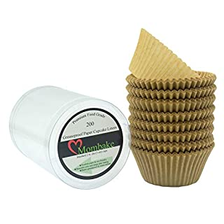 Mombake Premium Natural Greaseproof Cupcake Liners Muffin Paper Baking Cups Standard Size, 200-Count