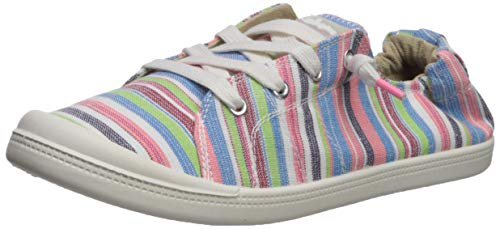 Sugar Women's Gadjet Laceless Slip-on Fashion Sneaker, Pink/Multi Stripe, 9 M US
