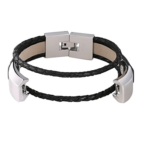 bayite Leather Bands Compatible with Fitbit Alta and Alta HR, Adjustable Metal Clasp Accessory Bracelet, Black Small 5.5 - 6.7