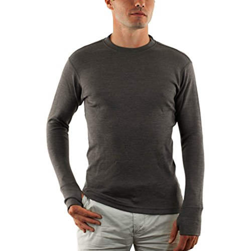WoolX X702 Mens Heavyweight Top with Thumbholes - Charcoal - MED
